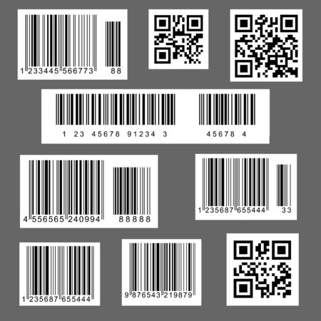 Vector illustration of barcodes and QR codes, used in supermarkets and stores, carries an industrial sense.
