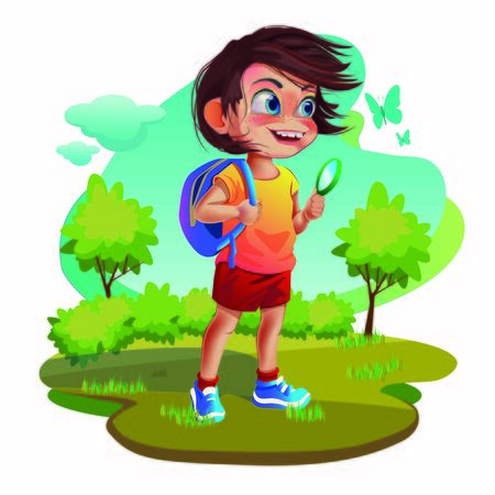 Illustration of a cheerful boy with a briefcase walking from school, a teenager on a walk.