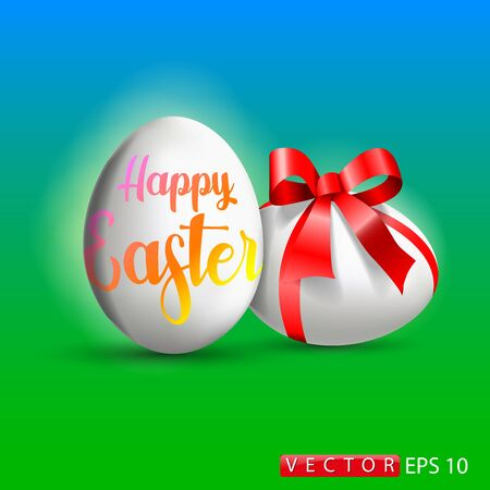 Vector illustration on the theme of the holiday Easter, Easter card with an egg. EPS 10