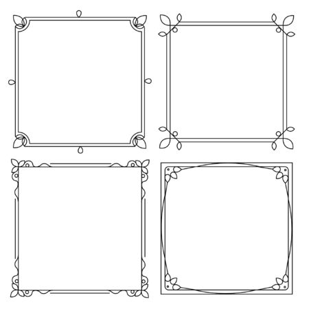 Set of decorative frames with a pattern isolated on white background. EPS 10. Illusztráció