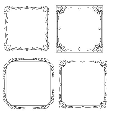 Set of decorative frames with a pattern isolated on white background. Retro ornamental frame, vintage rectangle ornaments and ornate border.