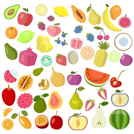Set of fruits on a white background, different tropical fruits and berries. Exotic fruit set. Vector. EPS 10 向量圖像