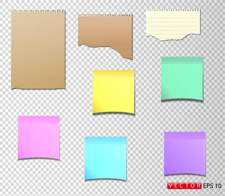 A set of paper stickers in different colors and shapes, as well as torn notebook paper. Vector. EPS 10. Stock Illustratie