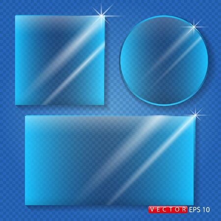 Clear glass isolated on a blue background. Vector. EPS 10 Foto de archivo - 140648879