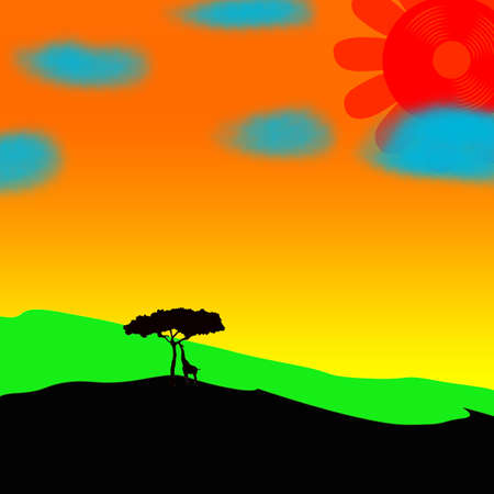 Giraffe, tree and sun