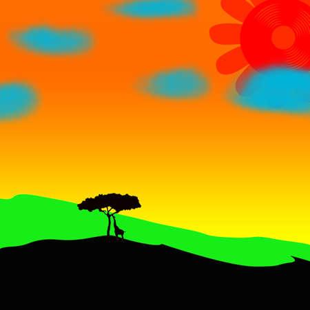 Giraffe, tree and sun