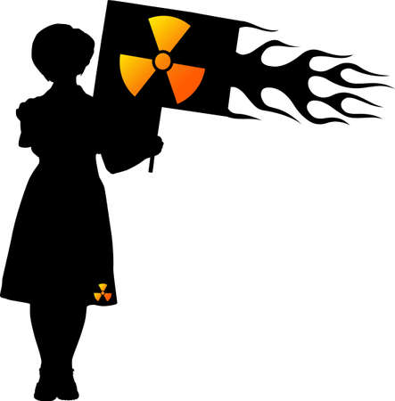 Woman with Radiation Flag