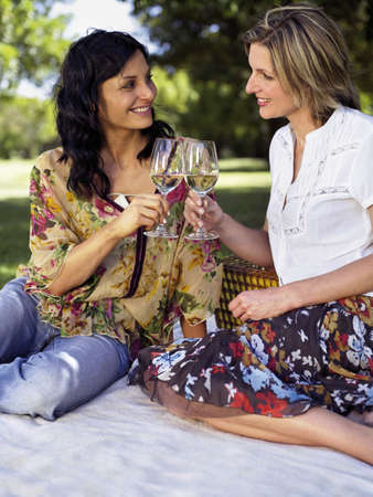two persons only: Women drinking wine in a park LANG_EVOIMAGES