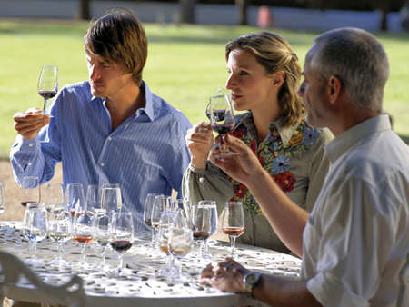 three persons only: Wine tasters smelling red wine