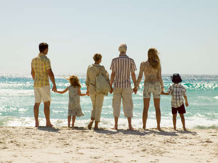 six persons: A family at the beach