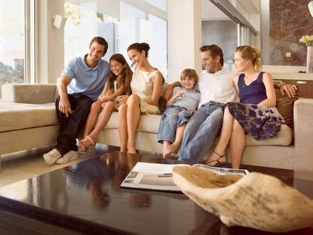 six persons: Happy people on the sofa