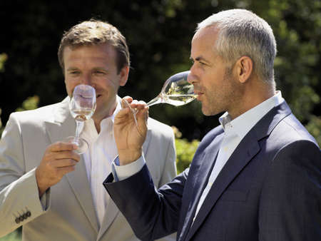 two persons only: Men drinking wine