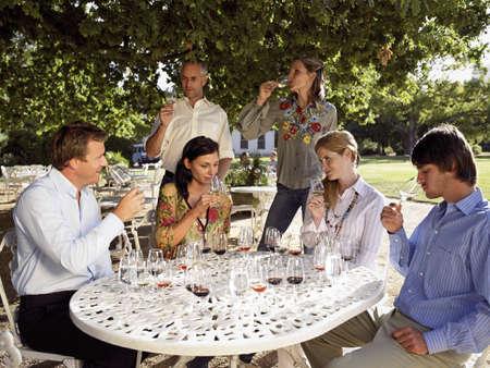 Wine tasters tasting wine