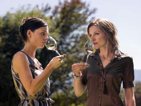 two persons only: Women drinking wine