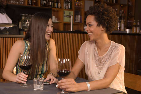 two persons only: Friends drinking wine at a restaurant LANG_EVOIMAGES