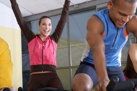 jubilating: People on the cycles in the gym