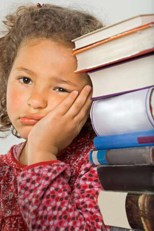 overburdened: Portrait of a girl thinking