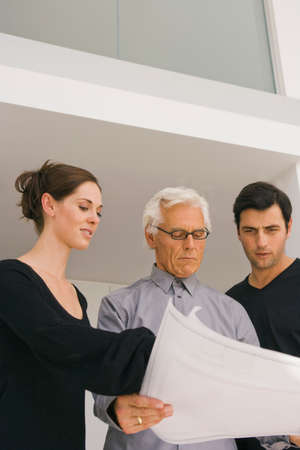 only senior men: Low angle view of two businessmen and a businesswoman discussing a blueprint in an office