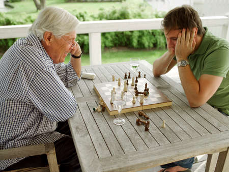 playing chess: Father and son playing chess