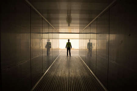 cargo container: Male dock worker standing in a cargo container LANG_EVOIMAGES