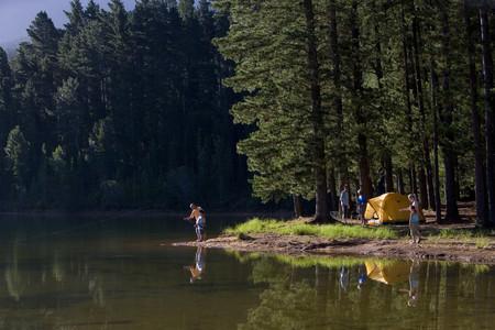 캠핑 여행에 멀티 세대 가족, 소년 (8-10) 호수에서 할아버지 낚시 중간 거리, 측면보기