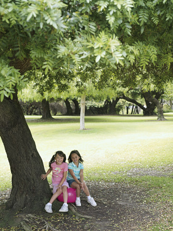 hopper: Two girls (7-9) sitting on pink space hopper beneath tree in park, smiling, portrait LANG_EVOIMAGES