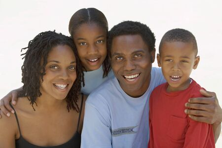 two generation family: Two generation family smiling, front view, close-up, portrait