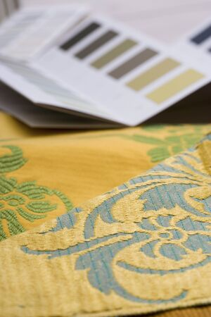 differential focus: Colour swatches and wallpaper design samples, close-up (still life, differential focus)