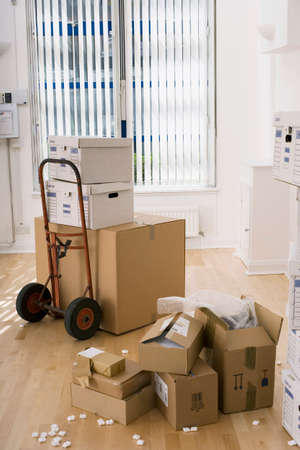 packing material: Large cardboard box on hand truck in office, small boxes on wooden floor near packing foam