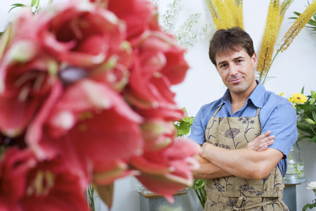 one mid adult man only: Male florist in apron standing in flower shop, arms folded, smiling, portrait (differential focus)
