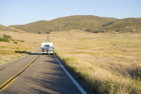 motor home: Motor home on road, elevated view LANG_EVOIMAGES