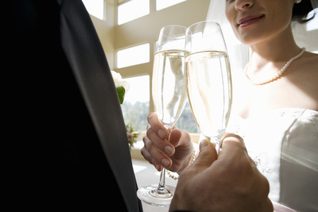 Bride and groom making celebratory toast with champagne flutes, close-up, mid-section Stock Photo
