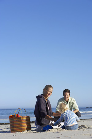 two generation family: Two generation family sitting on sandy beach, smiling, rear view, sea in background