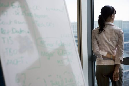 one mid adult woman only: Businesswoman looking through office window near whiteboard, rear view, focus on background LANG_EVOIMAGES