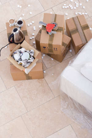packing material: Boxes, elevated view