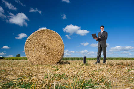 toiling: Businessman using laptop near hay bale