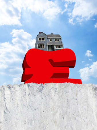 precarious: House weighing down British pound symbol on edge of cliff