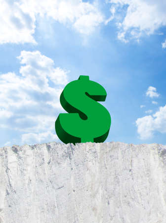 edge of cliff: Dollar sign on edge of cliff