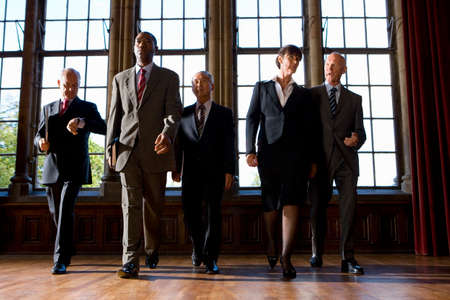professionalism: Small group of businessmen and woman walking in hall, low angle view