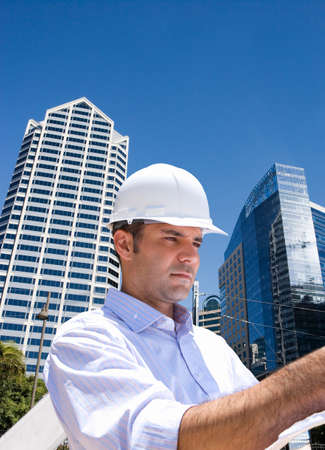 amp tower: Businessman inspecting construction site