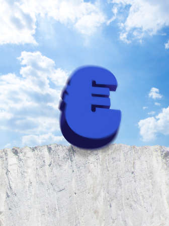 edge of cliff: Euro symbol falling from edge of cliff