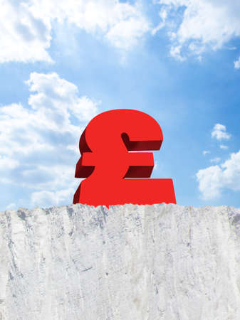 precarious: British pound on edge of cliff LANG_EVOIMAGES