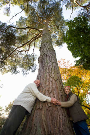 tetbury: Portrait of couple hugging tree trunk
