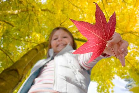 tetbury: Close up of girl holding autumn leaf LANG_EVOIMAGES