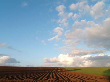 the ploughed field: Clouds over ploughed field