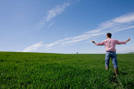outstretched: Farmer standing with arms outstretched in young wheat field