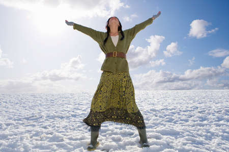 exhilarated: Exhilarated woman standing in snowy field