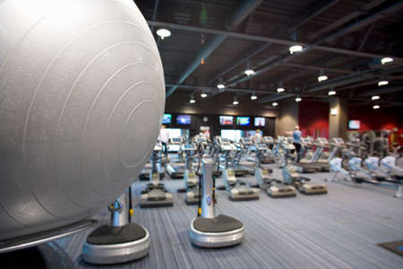health club: Fitness ball and exercise equipment in health club