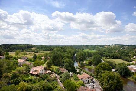 rooftops: Rooftops of idyllic village, Bourdeilles, Dordogne, France