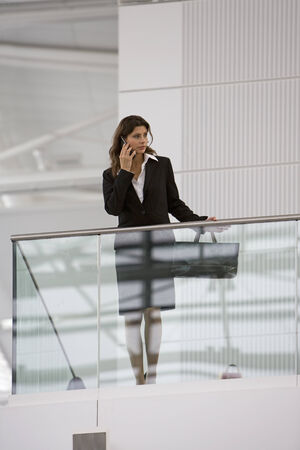 low blouse: A businesswoman talking on her mobile phone LANG_EVOIMAGES